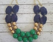 FREE EARRINGS Navy, Emerald Green and Gold Chunky Statement Bib Necklace...Purchase 3 or more get 10% off