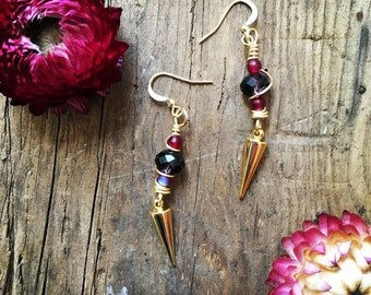 Gold spike dangle and drop wire wrapped beaded earrings with gold ear hooks
