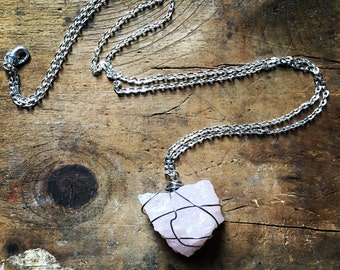 Raw gem rose quartz necklace wire wrapped crysal silver jewelry healing stone long chain