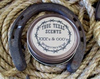 Pink Saddle (leather & roses) 4 oz western Texas cowboy mason jar candle