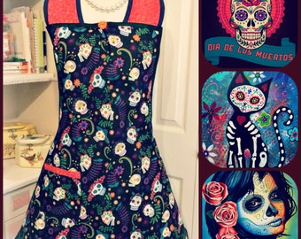 Day of the dead woman's full apron
