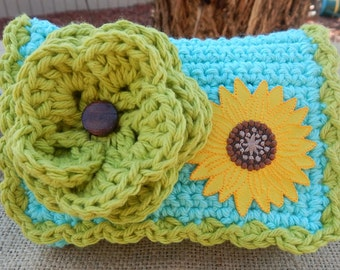 HALF PRICE CLEARANCE  ~  Crocheted Purse  ~  Robins Egg Blue and Lime with Sunflower  Crocheted Cotton Little Bit Purse