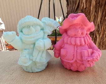 Snowman Figurines  ~  Upcycled Snowman Figurines  ~  Hot Pink Snowman Figurine  ~  Robins Egg Blue Snowman