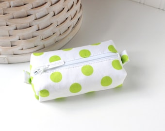 Lime Polka Dot Small Boxy Pouch Polka Dot Coin Purse Neon Green and White Change Purse Credit Card Holder