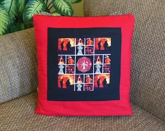 Firefighter Fireman QUILLOW - a personal quilt that folds into a pillow - dalmatian fire dog