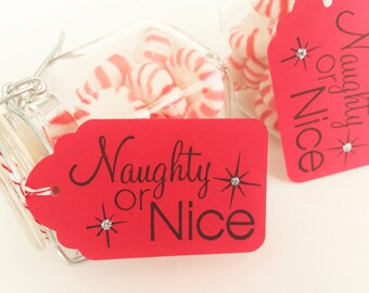 Naughty or Nice Christmas Gift Tags Red and Black Silver Glitter Holiday Party Secret Santa