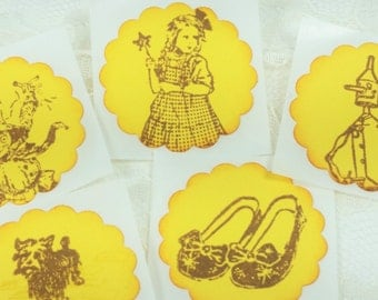 Wizard of Oz Stickers Dorothy Toto Tin Man Lion Scarecrow Ruby Slippers Yellow Brick Road Party