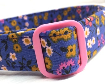 Purple Pink Flowers Fabric Dog Collar Ladies Bowling League