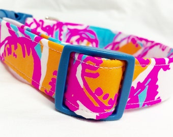 Lilly Pulitzer Feelin' Tanked Fabric Dog Collar Girl Hot Pink Blue