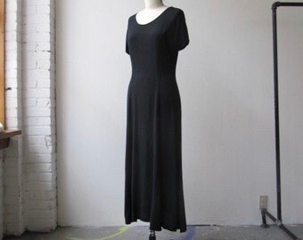 ghost dress / 1990s black viscose maxi dress M
