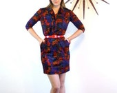 """SALE 50% OFF Vintage 60s Mini Dress SERBIN of Florida Pussybow 3/4 Sleeve Tie Collar Mod Abstract Print 1960s """"Mad Men"""" Fitted Wiggle Dress"""
