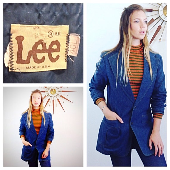 """Vintage 70s LEE Jean Blazer Retro Fitted Dark Denim Jacket Men's Women's Disco Blazer Hippie 1970s """"The Get Down"""" Style Fitted Denim Coat"""