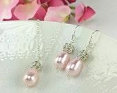 Valentine's Day Gift For Her Light Pink Jewelry Pink Jewelry Set Nickel Free Jewelry Sparkly Jewelry Teardrop Pearl Rosaline Pearl Rachel