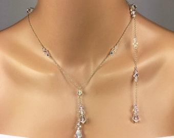 Backdrop Wedding Jewelry Set Swarovski Crystal Wedding Jewelry Y Necklace