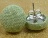 Sweet Green Fabric Button Earrings
