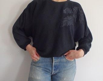 Sweater Vintage Loose Black