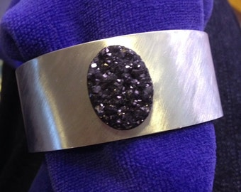 Sparkling druzy crystal agate on a delightful alumium cuff bracelet made in the USA