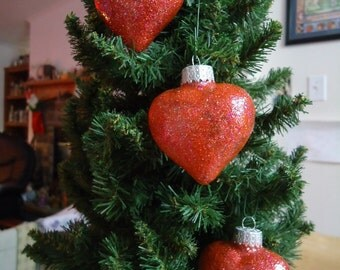 Set of 3 Red Glass Heart Christmas Tree Ornaments