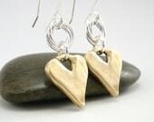 Gold Heart Earrings, Valentine Earrings, Mixed Metal Earrings, Gold Hearts, Valentine Gift, Gold and Silver Earring, Rustic Gold Earrings