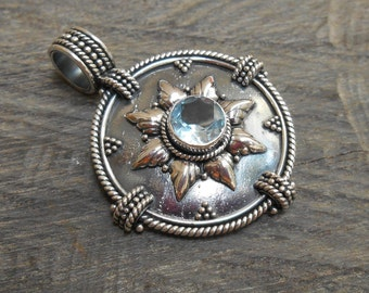 Balinese Silver Pendant with Topaz / silver handmade jewelry / silver 925 Bali jewel