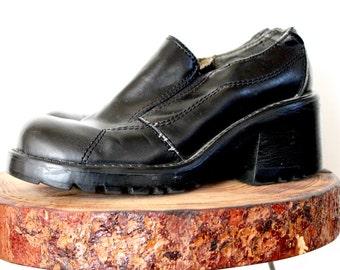 90s Vintage/ Rampage Black Chunky Platforms/ Size 8M