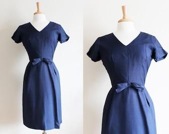 1960s Dress / Vintage Navy Blue Short Sleeve Bow Dress