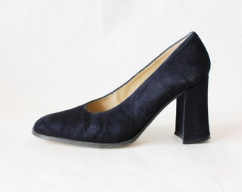Vintage Navy Blue Suede Block Heel Pumps, size 38