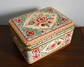 Vintage Pastel Raised Floral Design Tin Box Container Hinge Lid Made in Holland
