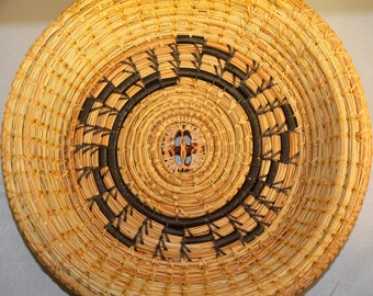 Walnut Slice Spiral Pine Needle Basket- Winner