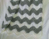 Chevron Ripple Baby Blanket Afghan Gray and White Striped Crochet Crib Car Seat Stroller READY TO SHIP Shower Gift