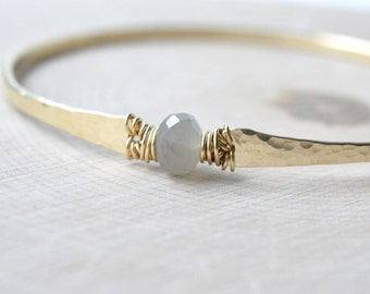 Grey Moonstone Bracelet Gold Hammered Bangle Bracelet Moonstone Bangle June Birthstone Gold Filled Dove Grey and Gold Greyweather Bracelet