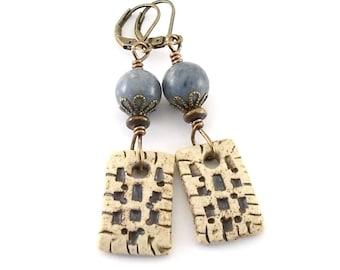 Denim and Brown Rustic Ceramic Earrings - Ceramic Earrings - Wire Earrings -Boho Earrings -Artisan Earrings -Long Earrings -Stoneware -AE184
