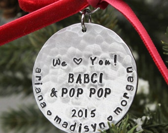 Grandparents Ornament Christmas Ornament Personalized Hand Stamped in Aluminum-