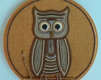 Vintage Folk Art Owl Collage Made of Zippers in Wooden Hoop