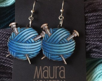Hand painted knitting ball of yarn earrings. Custom colors available.