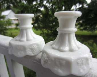 Vintage White Milk Glass Candle Candlestick Holders Westmoreland Grape Panel Design