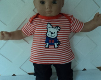 Bitty Baby Boy 2 pc. cute Doggie outfit,  pants set, doll clothes