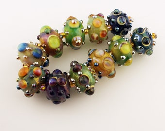 Lampwork Beads Glass Bead Set Iridescent Green, Pink, Purple, Blue, Gold  'Juicyfruits'