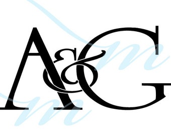 Intertwining Ampersand Monogram - A&G (instant download - JPG, PSD, PDF)