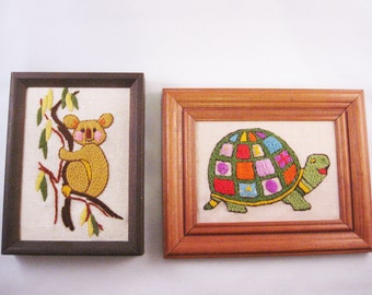 Embroidered Turtle and Koala Pictures, Vintage Framed Needlepoints