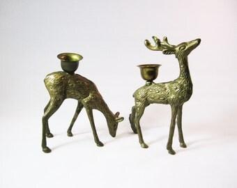 Vintage Brass Deer Candle Holders