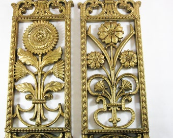 Mid Century Gold Floral Wall Plaques by Homco
