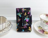 Tea wallet - Teabag case for travel - black dragonfly tea wallet by Purple Grace made in Maine - tea party favor