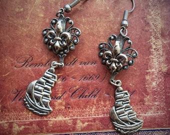 Old France - Fleur de Lis and Galleon Ship Earrings