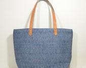 Nana handmade blue + leather simple tote