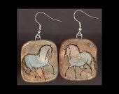 Horse Jewelry: Pale Blue Gold Horse Earrings. Ink Drawing on Polymer Clay. Pale Copper, Gold, Aqua Blue and Black. 4117