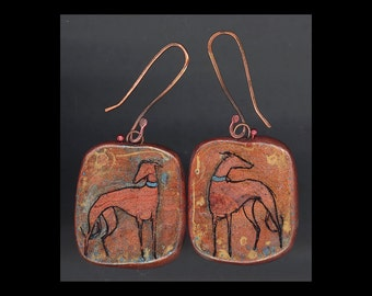 Greyhound Dog Jewelry: A Red Hound Standing. Original Ink Drawing on Polymer Clay. Gold, Copper, and Blue  4147