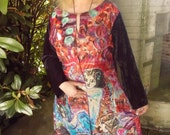 painted silk coat black red purple gold turquoise artificial velvet sleeves motif dragon witch moon flowers floral size M.