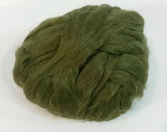 Suri Alpaca Roving, Olive, Silky Soft Roving,  4oz listing
