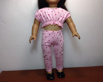 DC Pink Polka Dot Midriff Top and Leggings Set - 18 Inch Doll Clothes fits American Girl